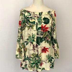 Tropical Print Off-the-Shoulder Top
